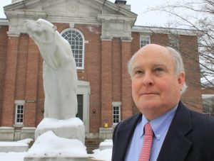 """RICHARD """"MERS"""" MERSEREAU, seen recently at Bowdoin College, is retiring from the Brunswick college after 44 years."""