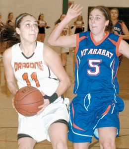 BRUNSWICK'S JULIA CHAMPAGNE (11) goes up for two points with Mt. Ararat's Lindsey Cornelison (5) closing in during a KVAC girls high school basketball game at Brunswick on Thursday. Champagne scored 34 points, including her 1,000th career point, in the Dragons' 69-37 win. Turn to B1 for complete game coverage.