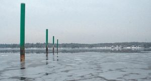 SEMI-FROZEN WATERS are seen recently off Mere Point in Brunswick.