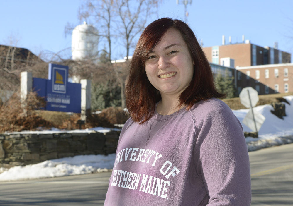 """University of Southern Maine sophomore Micaela Manganello pays out-of-state tuition. A nursing major, her loans may reach $80,000, a figure that """"honestly scares me,"""" she admits."""
