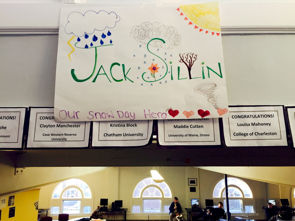 """When freshman Jack Sillin correctly predicted four snow days in quick succession at North Yarmouth Academy, a handful of upperclassmen posted congratulatory signs around campus dubbing him """"Our Snow Day Hero."""""""