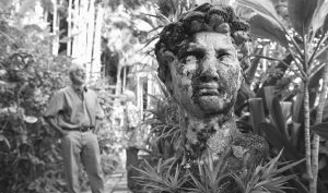 A SCULPTURE DEPICTING the head of Michelangelo's David is among many of the art pieces in the collection at the 14-story garden belonging to retirees Dr. Rodney Powell and Bob Eddinger at their home in Honolulu.