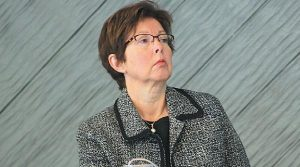 DEP COMMISSIONER Patricia Aho during Wednesday's hearing in Brunswick.