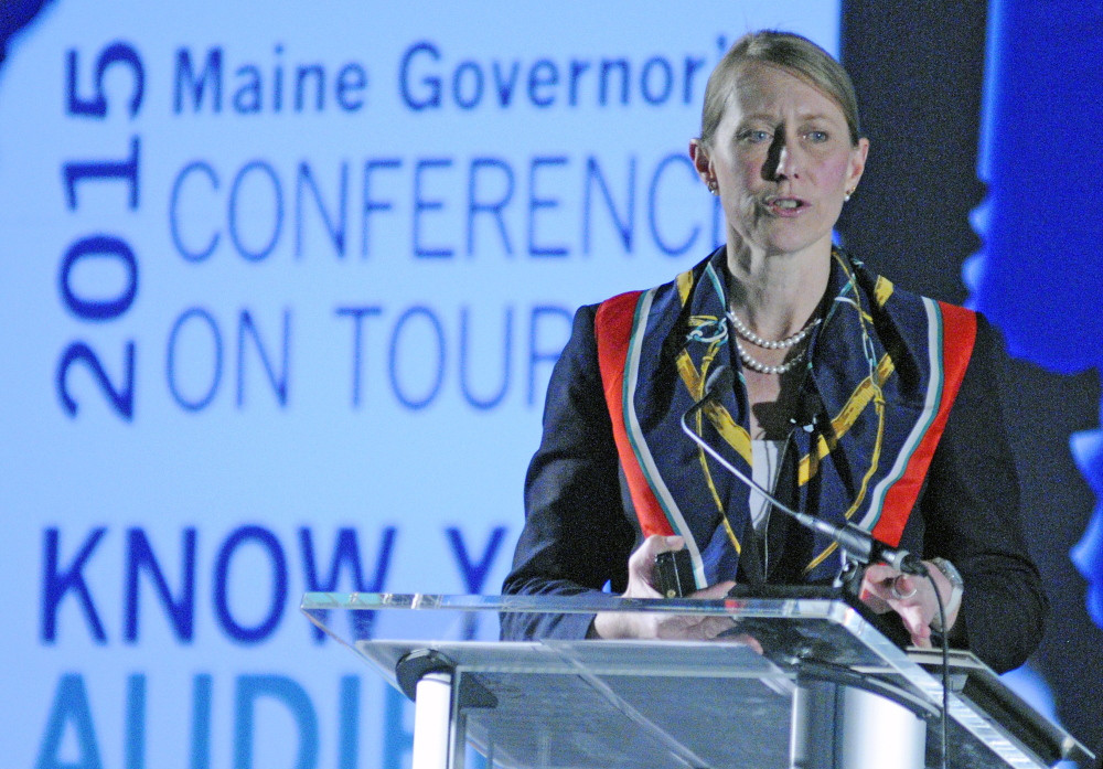 Carolann Ouellette talks about the future of Maine tourism at a March 2015 conference at the Augusta Civic Center.