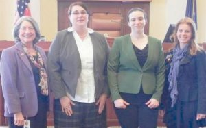 SEN. LINDA BAKER, R-Topsham, and Sen. Amy Volk, RScarborough, hosted college students Shannon Landry of Brunswick and Samantha Skillings of Portland, who were participating in the Maine NEW Leadership, at the State House on Thursday, April 2. Pictured, from left, are Baker, Landry, Skillings and Volk.