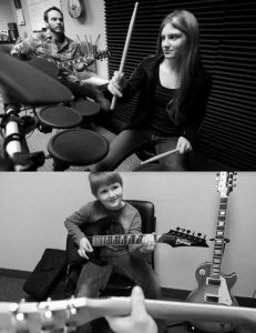 VERA FINE, 15, of Hope takes drum lessons at the Midcoast Music Academy in Rockland in the top photo. When she heard from founder and director Tom Ulichny that they are trying to raise money for scholarships, Vera donated her savings of $85 to the academy. Wyatt Simmons, 7, of Friendship smiles during a guitar lesson at the Midcoast Music Academy in Rockland with school founder and director Tom Ulichny Thursday in the bottom photo.