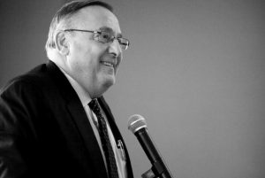 GOV. PAUL LEPAGE speaks to the Southern Midcoast Maine Chamber in Brunswick on Thursday morning where he touted his $6.57 billion biennial state budget proposal.