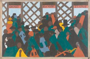 """A PANEL OF THE GREAT MIGRATION SERIES by African-American artist Jacob Lawrence titled """"During the World War there was a great migration North by Southern Negroes,"""" included in the """"One-Way Ticket"""" exhibition running through Sept. 7 at the Museum of Modern Art in New York. It is one of 60 narrative paintings that are the centerpiece of the exhibit. Lawrence was only 23 when he completed the series in 1941. The small paintings depict various scenes of the multidecade mass exodus of blacks who headed North from the rural South in search of economic opportunity and social equality."""