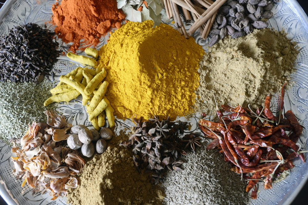 A spice tray at Tulsi Restaurant in Kittery.