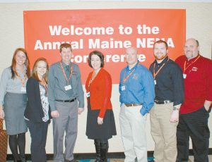 A GROUP OF SAGADAHOC COUNTY COMMUNICATIONS CENTER employees attended the 18th annual Conference and Training hosted by the Maine Chapter of the National Emergency Number Association earlier this month. From left are Rebecca Blier, Alanna Makarewich, Brodie Hinckley, Tammy Shiers, Matt Fournier, Chaz Chastenay and John Thibodeau. Blier got the Stock Award for delivering a baby over the phone, Hinckley won director of the year, Chastenay got a Silent Hero award and Shiers was nominated for supervisor of the year.