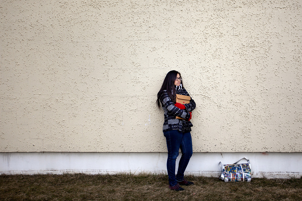Lahana Palencia, a 20-year old student at SMCC in South Portland, poses for a portrait on campus. Palencia took a year off between high school and college, and after initially wanting to attend USM, she chose SMCC. abe Souza/Staff Photographer