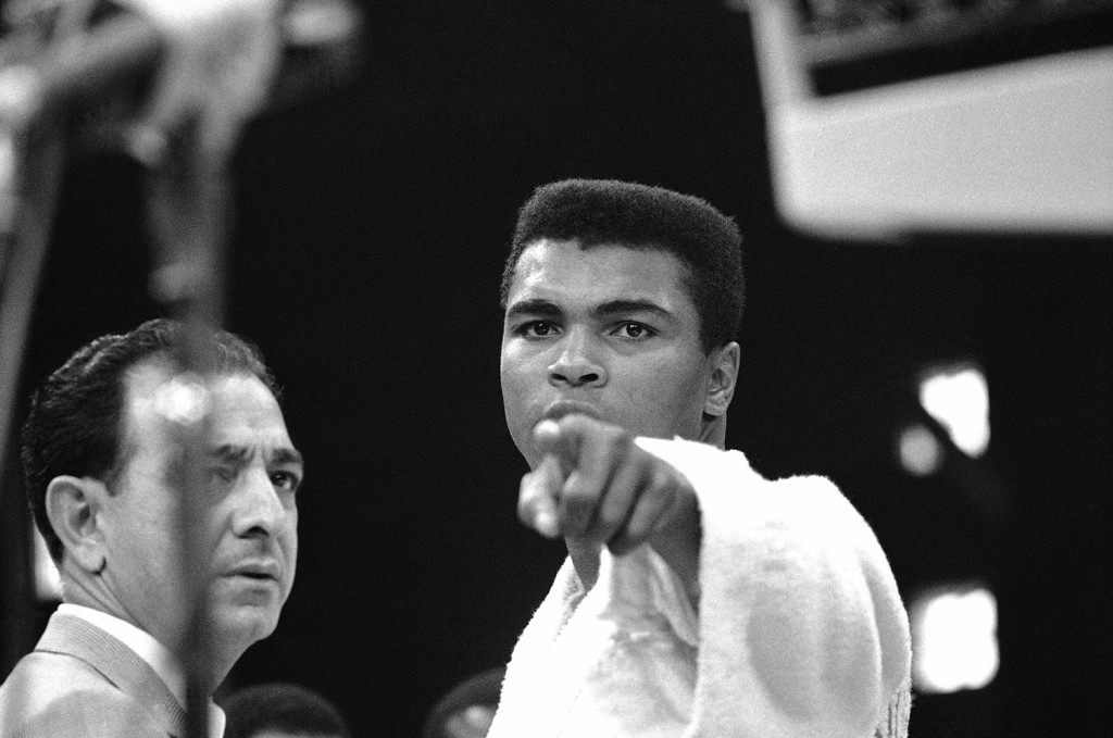 Heavyweight champion Muhammad Ali was momentarily displeased after the weigh-in ceremony on May 25, 1965, in Lewiston, Maine, when he boxed Sonny Liston. Liston weighed 215¼ pounds and Ali weighed 206.