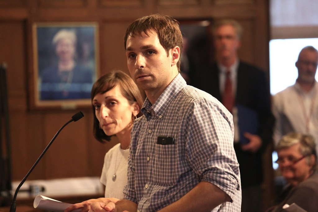 Nancy Shaw and Justin Olsen, seen speaking to the Portland City Council in 2015 about their proposed New England Cannabis Farmers Market, have filed a lawsuit claiming Maine's pending medical marijuana rules violate patients' privacy and force caregivers to divulge confidential patient information to the state.