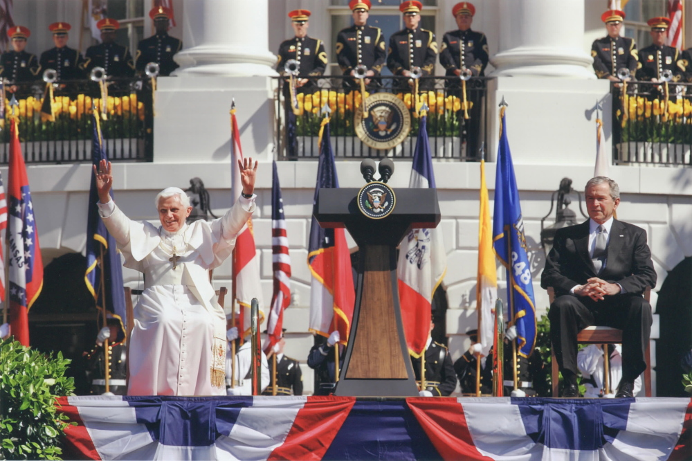 Pope Benedict and President George W. Bush sat in Harpswell arm chairs from Thos. Moser during a 2008 visit.