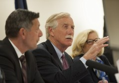 "U.S. Sen. Angus King, center, and Michael Botticelli, director of the national Office of Drug Control Policy, left, along with U.S. Rep. Chellie Pingree, welcome participants to Tuesday's roundtable discussion on opiate addiction. King said, ""If this were a (tuberculosis) outbreak, we'd be turning ourselves upside down to fight it."""