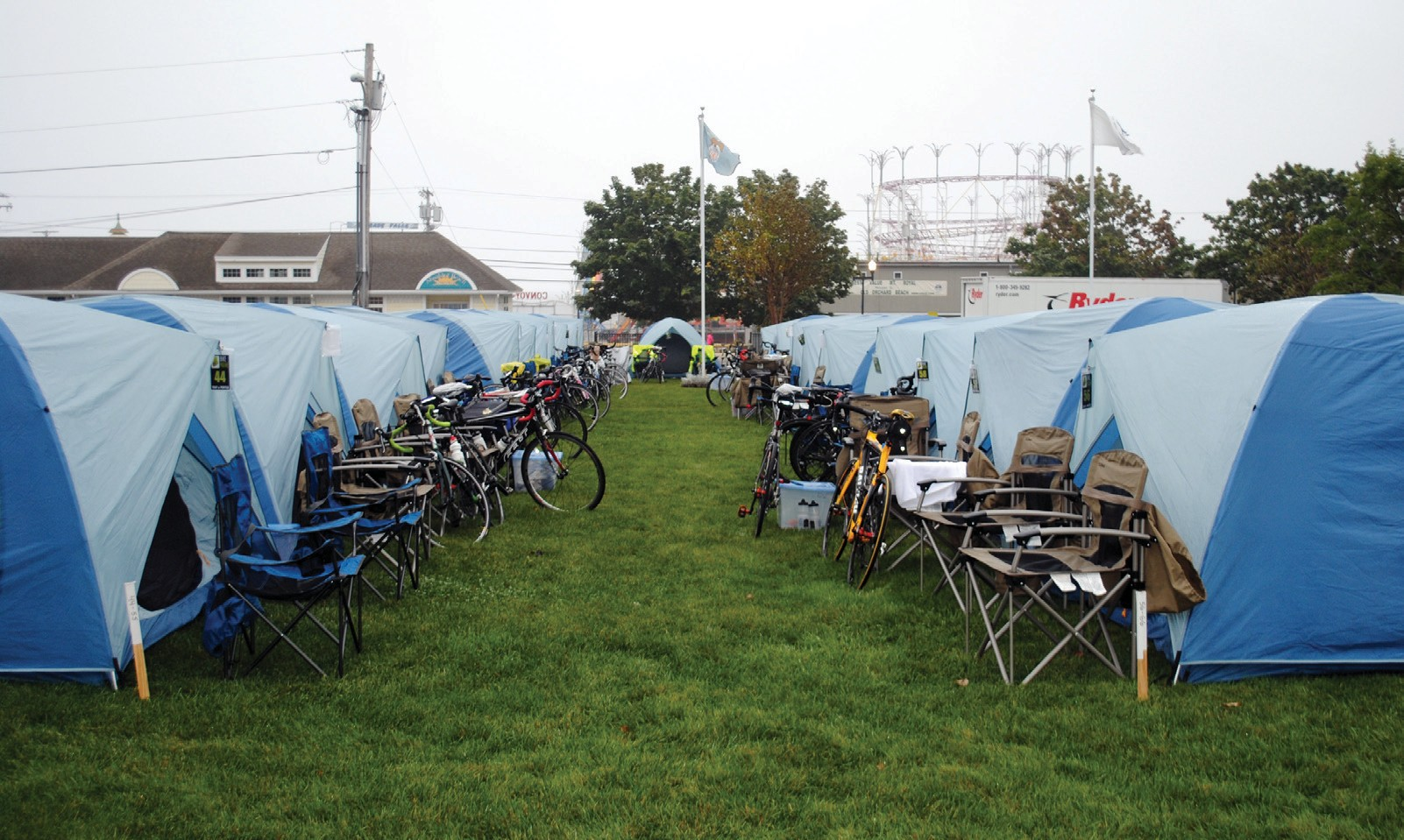 Tents are set up Sunday at Veterans Memorial Park in Old Orchard Beach, housing BikeMaine cyclists for the night.