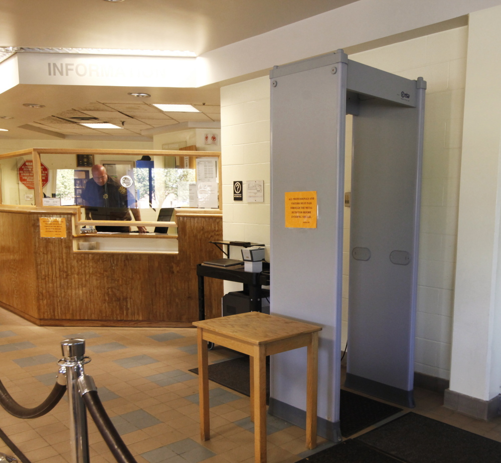 PORTLAND, ME - SEPTEMBER 18: The detector in the lobby at the Cumberland County Jail in Portland. Female attorneys are being forced to remove their bras before they are allowed to meet with their inmate clients, several attorneys have said.(Photo by)