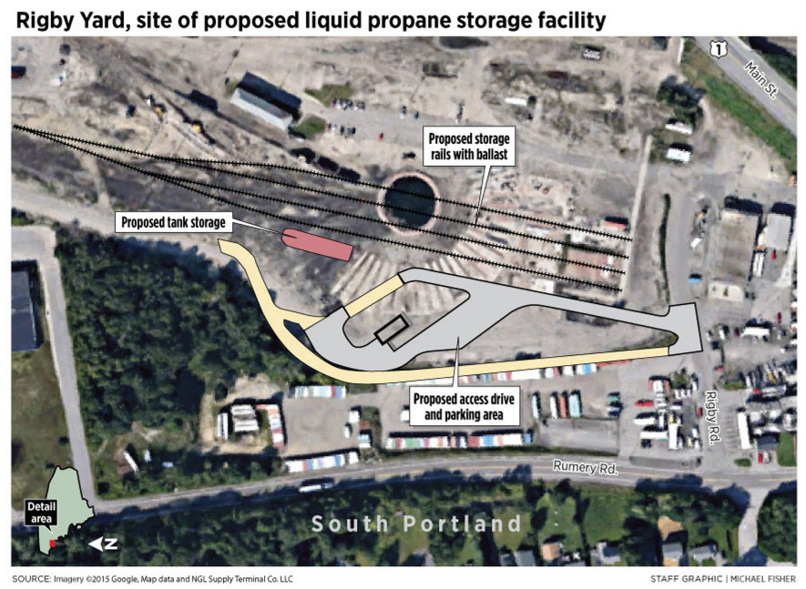 NGL Supply Terminal Co.'s proposal calls for a single 24,000-gallon propane storage tank at Rigby Yard in South Portland.