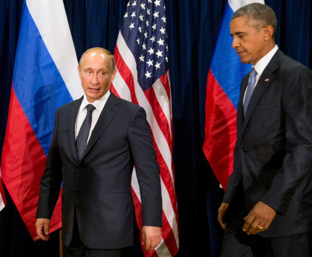 President Obama and Russian President President Vladimir Putin arrive to begin their first one-on-one meeting in more than two years Monday at United Nations headquarters.
