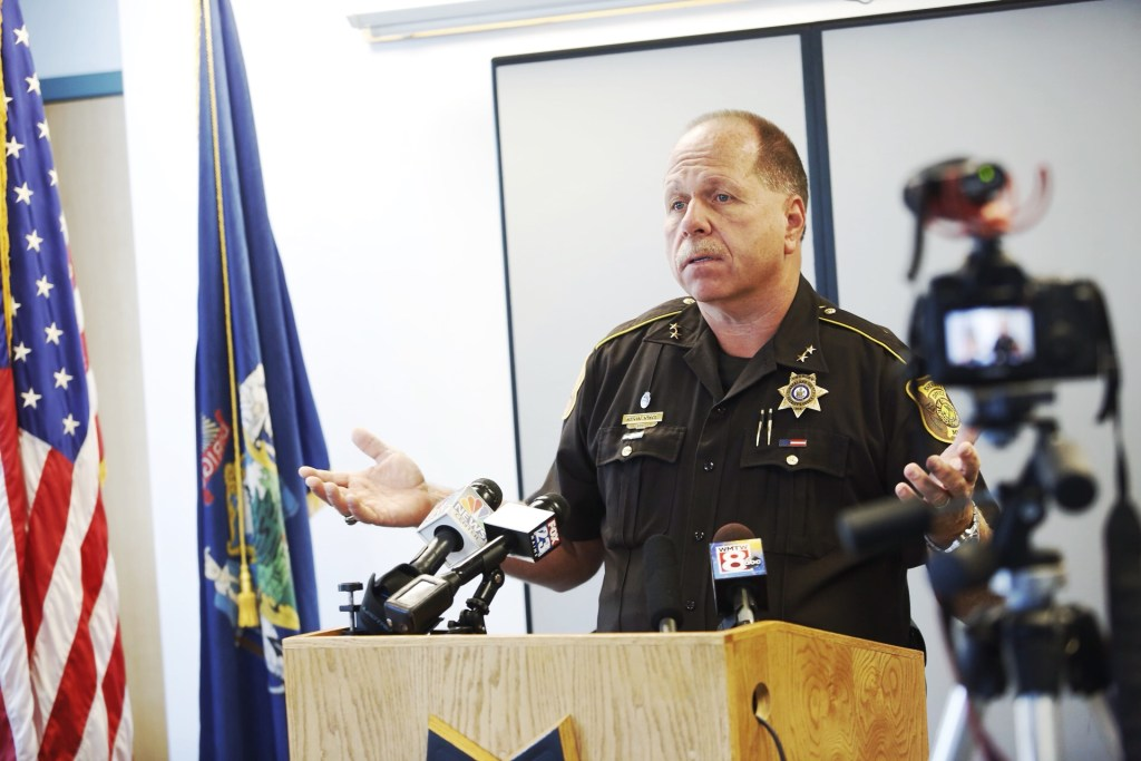 Sheriff Kevin Joyce addresses the media regarding female lawyers being asked to remove their underwire bras when visiting the Cumberland County Jail in Portland.