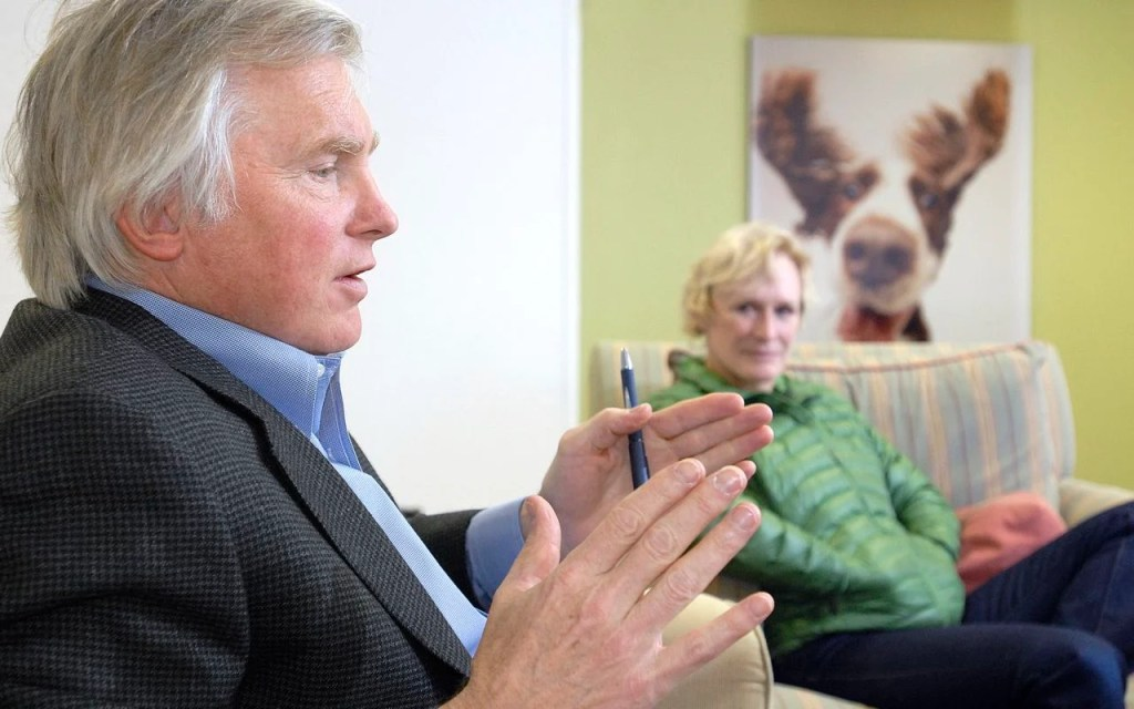 In this 2008 photo, David Shaw and Glenn Close talk about Fetchdog, a company they co-founded. Press Herald file photo