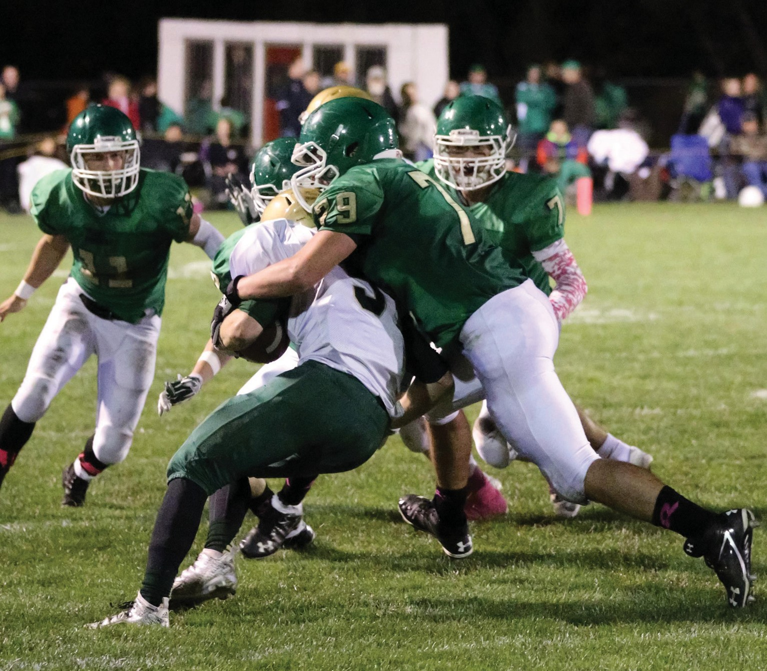 Massabesic's Nate Baert makes a tackle during Friday night's game against Oxford Hills/Buckfield.