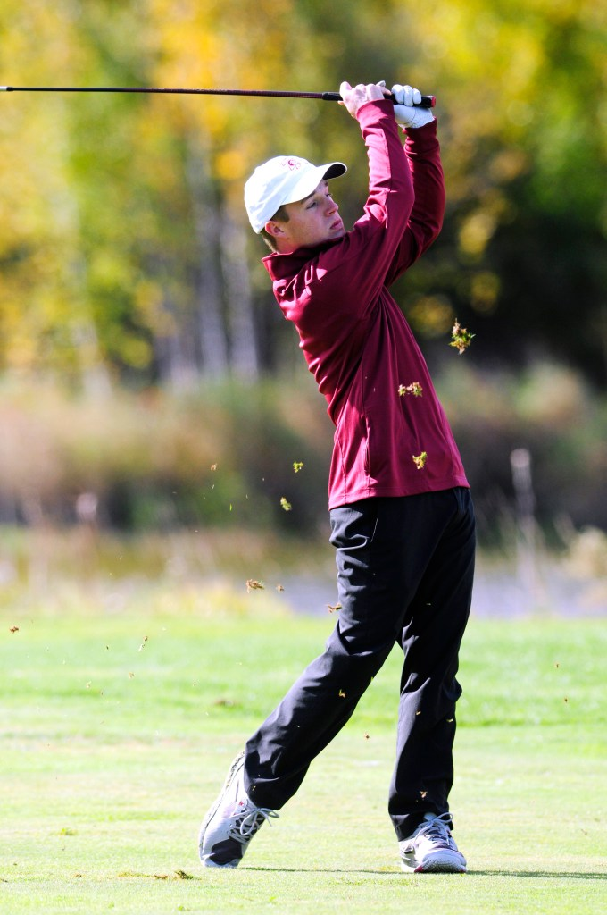 :Greg Kalagais of Thornton Academy shot a 79 to help the Golden Trojans win the Class A golf championship Saturday at Natanis Golf Course. Joe Phelan/Kennebec Journal