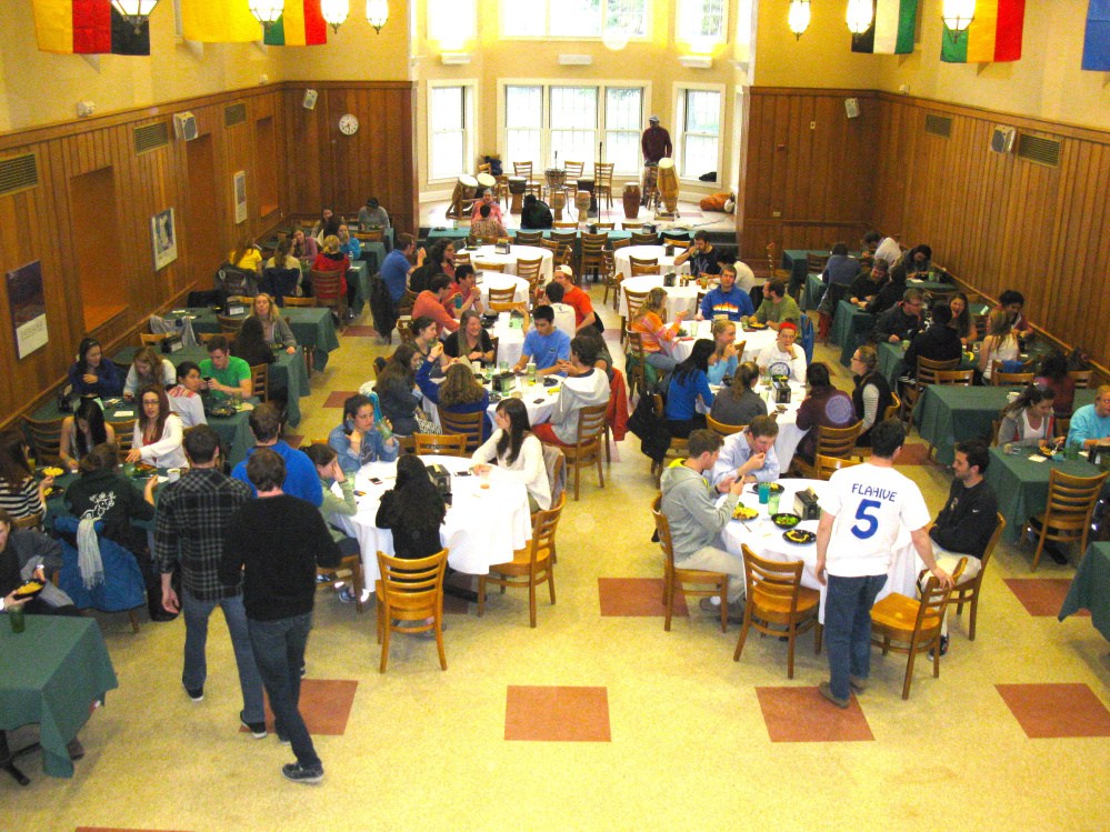 Seventy percent of the meals served in Foss Dining Hall at Colby College in Waterville are vegetarian and vegan. Foss is one of three dining halls on campus. The other two feature menus that are 20 percent vegetarian.