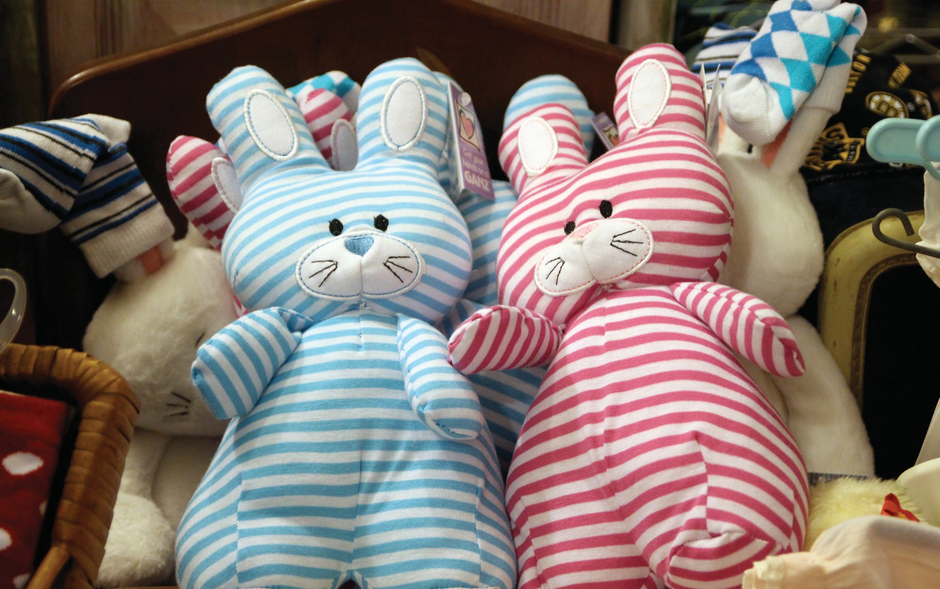 There's nothing like a striped bunny under the Christmas tree, like these two, seen at Lacava in Biddeford on Small Business Saturday.