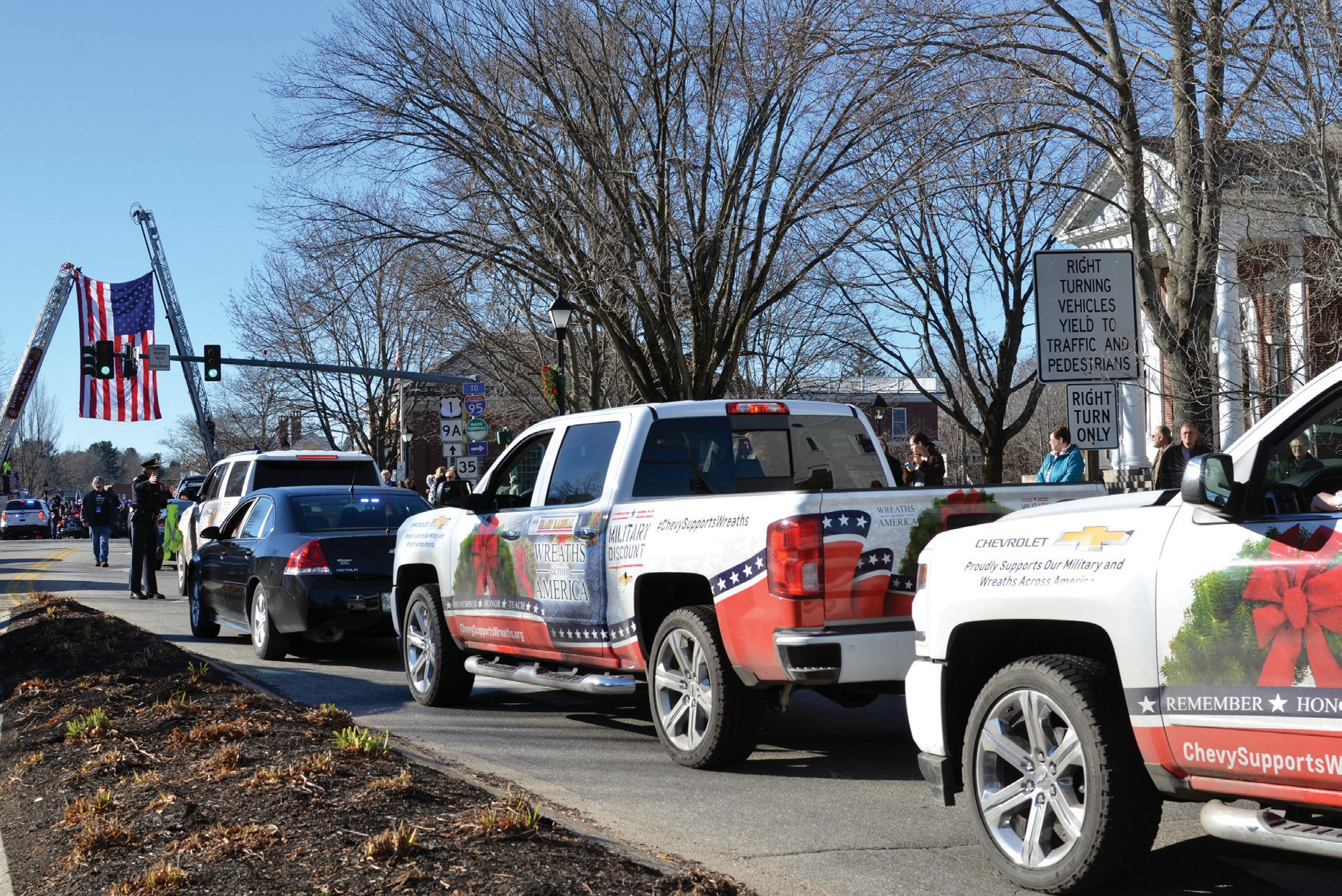 Hundreds of trucks carrying wreaths travel from Maine to Arlington National Cemetery in Virginia each year as part of Wreaths Across America. On Monday, the convey stopped in several York County communities including Kennebunk, pictured here.