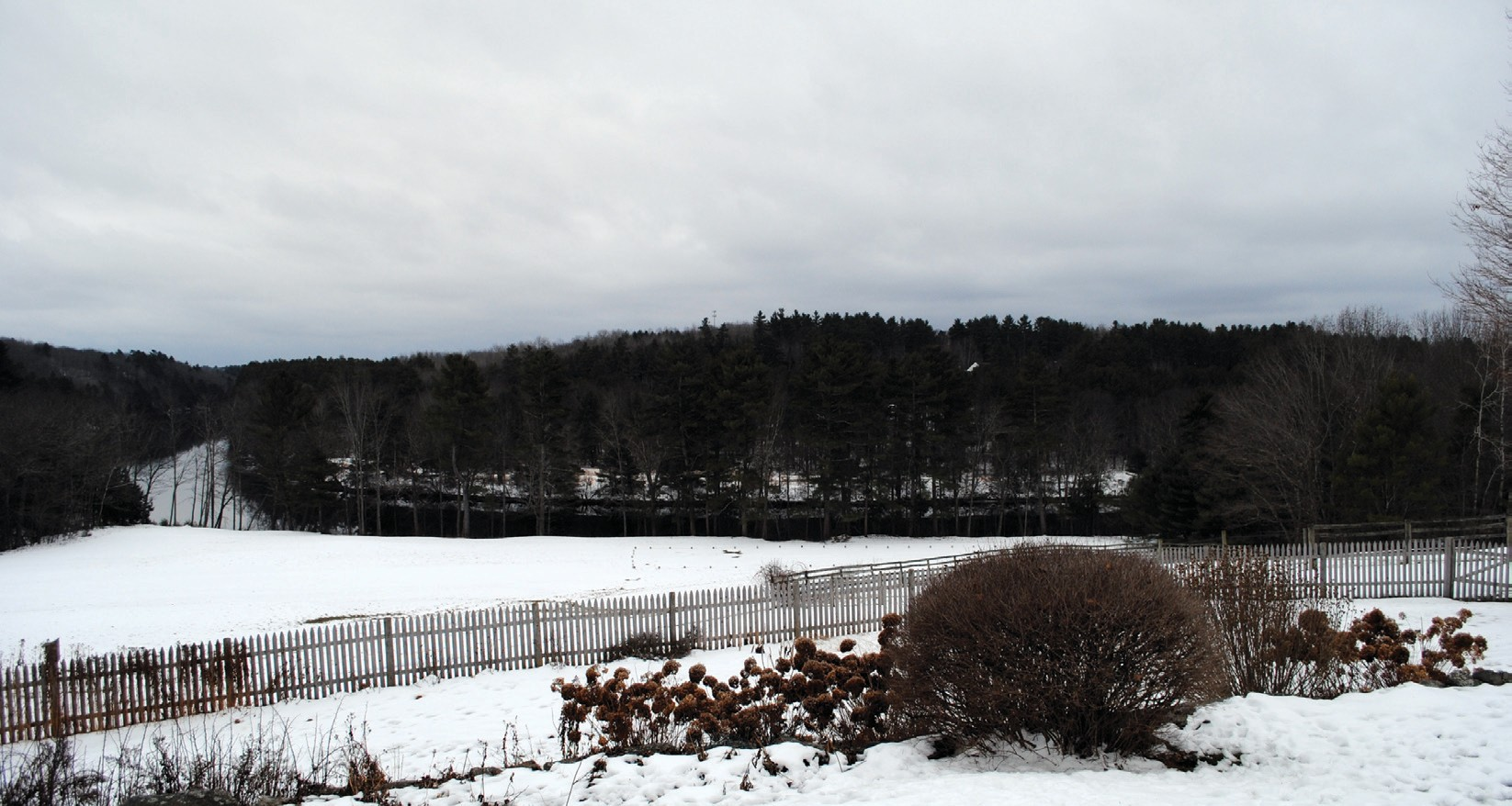 Above: A view of the Saco River from the porch of the farmhouse at Riverbend Farm, as seen Jan. 8. Right: Ecology School Founder Drew Dumsch talks about the school's proposed new site at Riverbend Farm at a barn on the Simpson Road property.