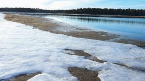 SNOW AND ICE cover the beach at Reid State Park in Georgetown on Wednesday afternoon.