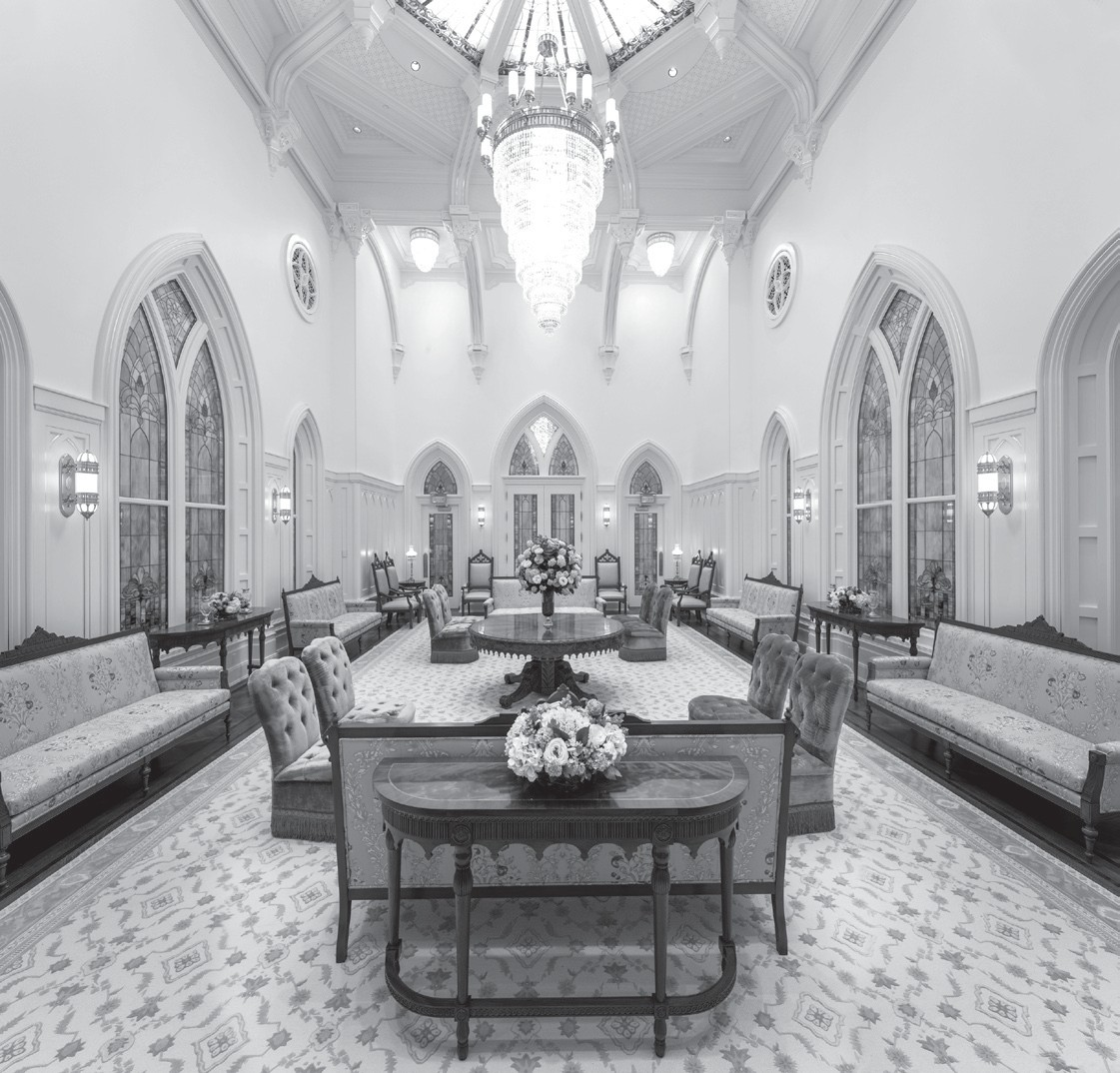 This photo provided by The Church of Jesus Christ of Latter-day Saints shows the celestial room on the top floor of the Provo City Center Temple in Provo, Utah.