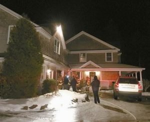 HARPSWELL FIREFIGHTERS at the scene of a fire at 217 Gun Point Road which started in the kitchen Tuesday night.
