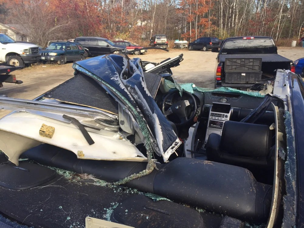 The car driven by Frank Gatto had its roof sheared off when it hit a moose on the Maine Turnpike in Gray in November. Courtesy of Frank Gatto