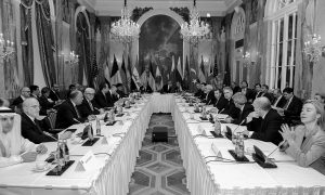 SYRIAN PEACE TALKS, October 2015, attended by 18 men and one woman.