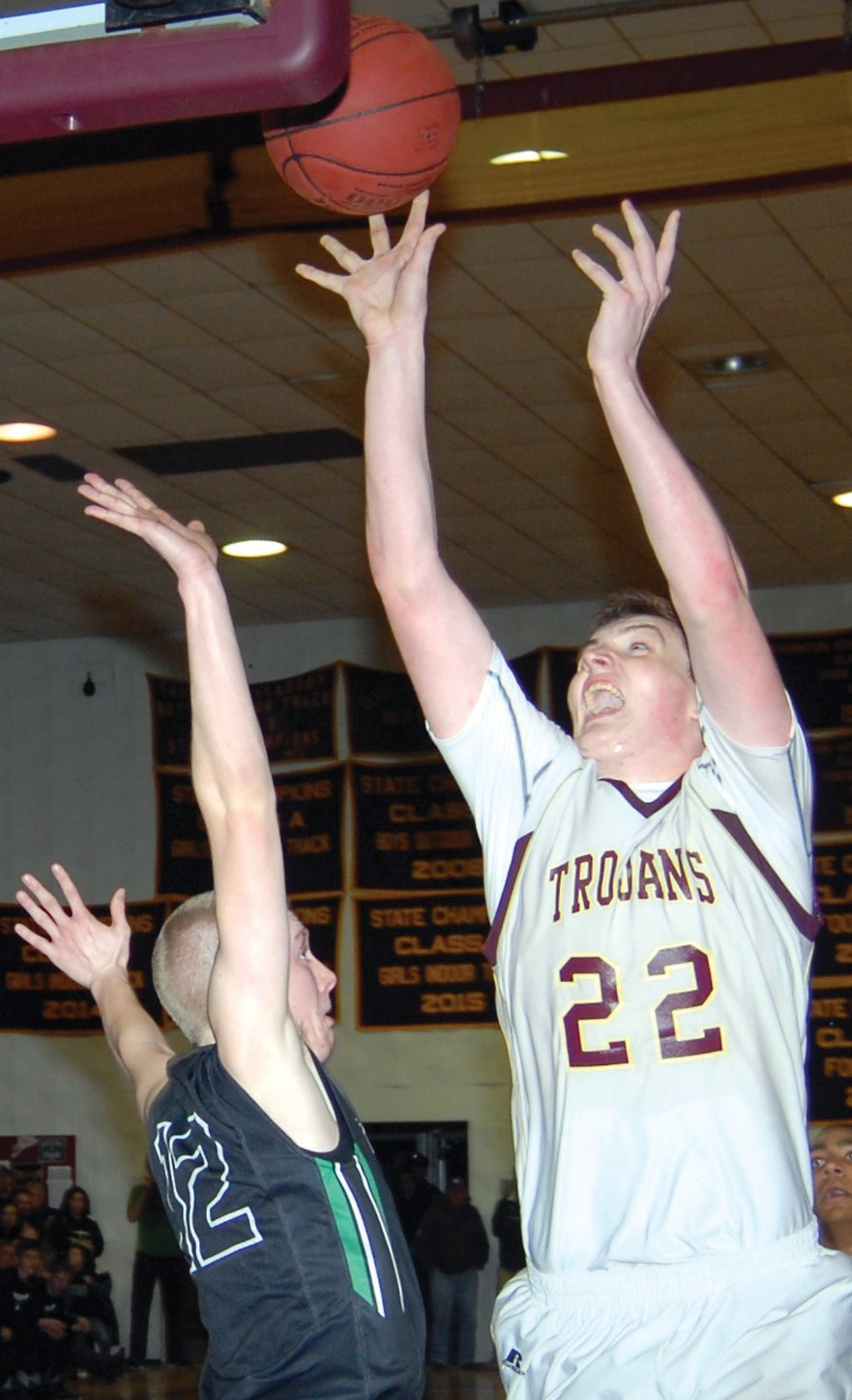 Thornton Academy's David Keohan puts up a shot during a game in January. Keohan has been named the SMAA Rookie of the Year after an impressive sophomore campaign.