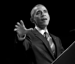 PRESIDENT BARACK OBAMA speaks at the National Prayer Breakfast in Washington on Thursday. The annual event brings together U.S. and international leaders from different parties and religions for an hour devoted to faith.