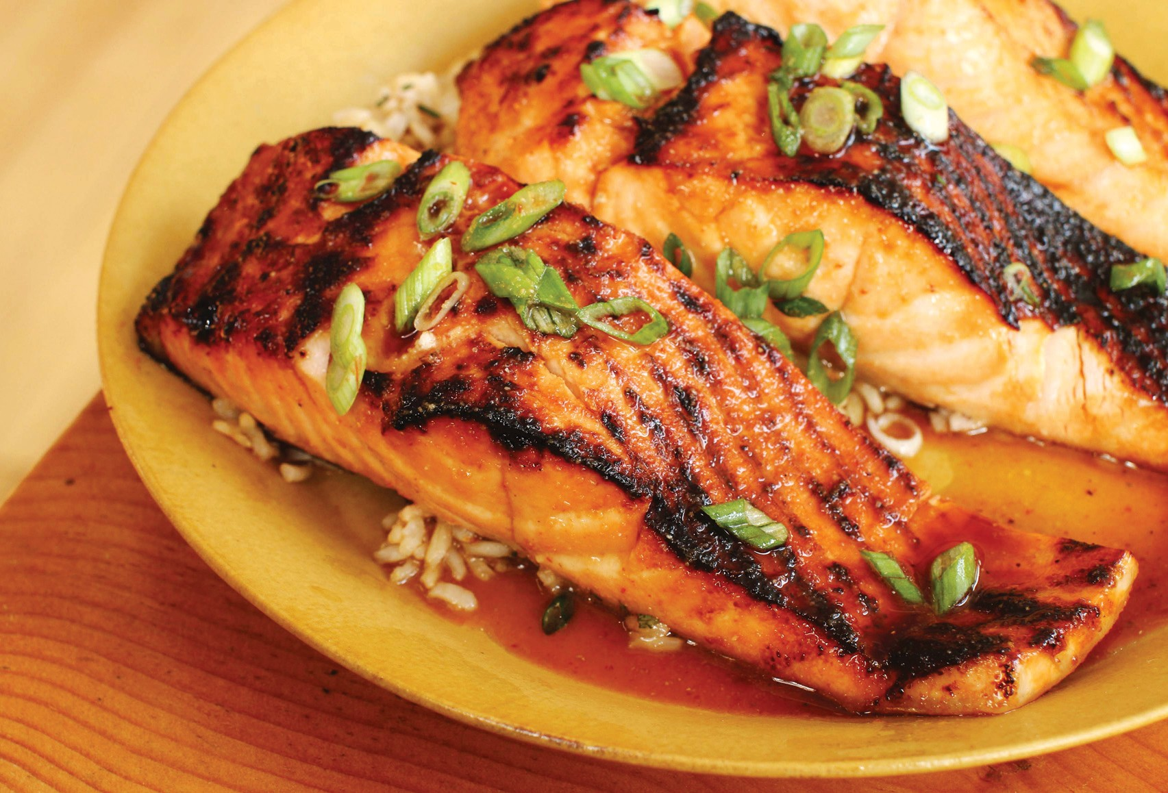 Teriyaki sauce on salmon. This incredibly versatile and delicious teriyaki sauce recipe can be used on whatever protein at hand: chicken, steak, pork or salmon.