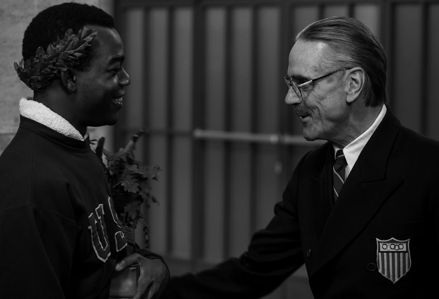 """This photo provided by Focus Features shows Stephan James, left, as Jesse Owens and Jeremy Irons as Avery Brundage in Stephen Hopkins'""""Race,"""" a Focus Features release."""