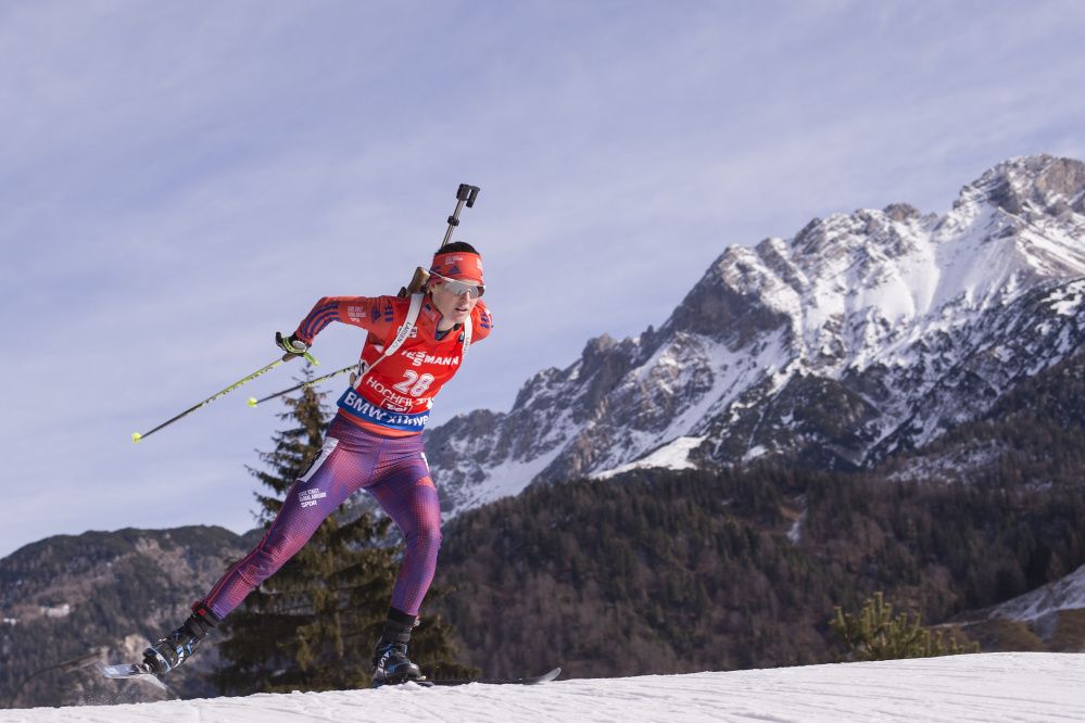 """Clare Egan opened this World Cup season by placing 16th among the world's best biathletes in Sweden, but then fell to 83rd in a sprint race, above, in Austria. """"We have barely scratched the surface"""" of Egan's abilities, said Max Cobb, president of U.S. Biathlon. US Biathlon/NordicFocus"""
