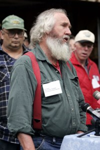 In a news conference in Fairfield, Vermont,, by the group Rural Vermont, board member and dairy farmer Jack Lazor of Westfield, Vermont, expresses his disappointment in Gov. James Douglas' veto of the genetic seed bill. The Associated Press
