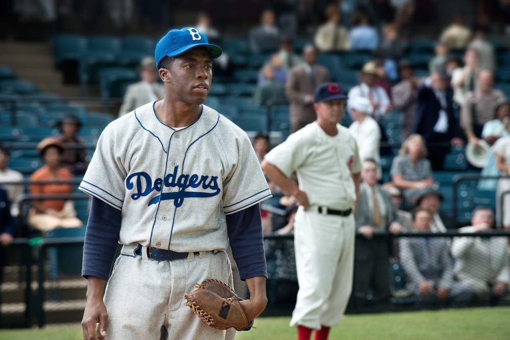 """The biopics """"42"""" and """"Race"""" provided meaty roles for Chadwick Boseman, left, as Jackie Robinson and Stephan James as Jesse Owens."""