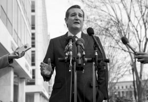 REPUBLICAN presidential candidate, Sen. Ted Cruz, R-Texas speaks to the media about events in Brussels Tuesday near the Capitol in Washington.