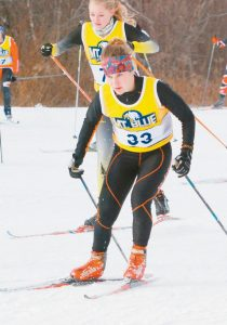 LENA MARTIN competes in the Maine Principals' Association Class A Girls Nordic State Championships on Titcomb Moutain in Farmington earlier this season.