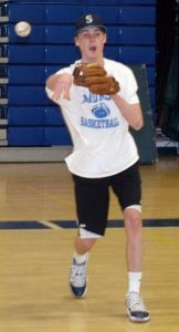 RILEY LAMARRE of Morse tosses the ball inside the Bath Middle School gym during a pitchers/catchers practice on Tuesday.