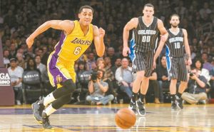 LOS ANGELES LAKERS guard Jordan Clarkson (6) in action during the first half of an NBA basketball game against Orlando Magic on Tuesday, in Los Angeles.