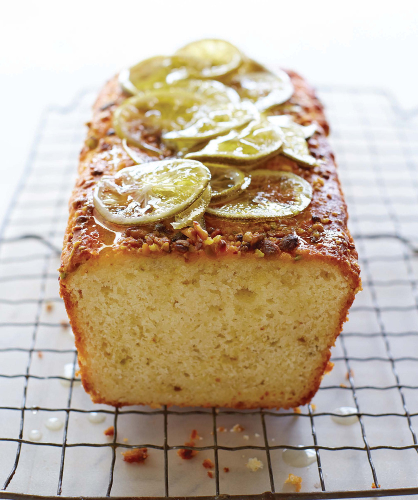 Turkish yogurt cake with lime syrup and pistachios.