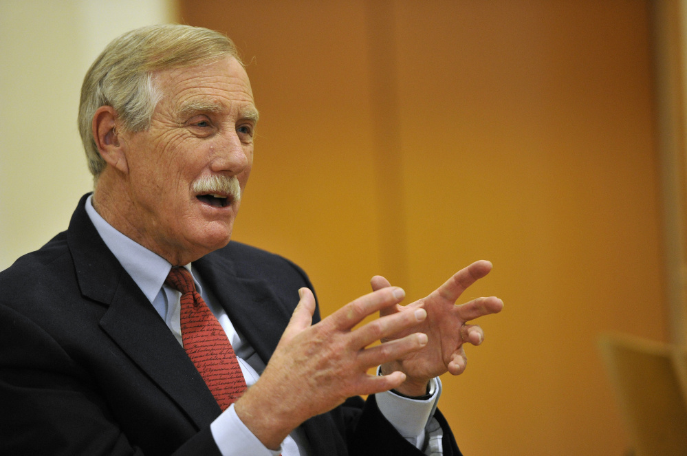 "Sen. Angus King said Friday at his news conference in Brunswick, ""An explicit part of ISIS' strategy ... is to drive a wedge between Muslims that live in the West and their societies."""