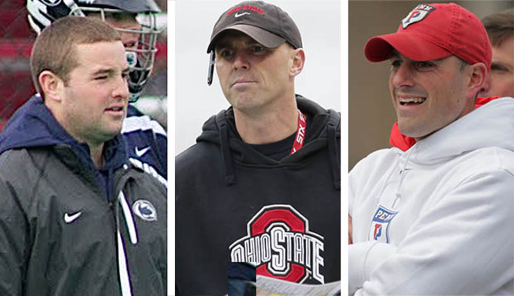 Peter Toner, left, works as the defensive coordinator at Penn State while Nick Myers has made a name for himself in eight years as the head coach at Ohio State. Myers' brother, Pat Myers, is the offensive coordinator at the University of Pennsylvania. Courtesy photos